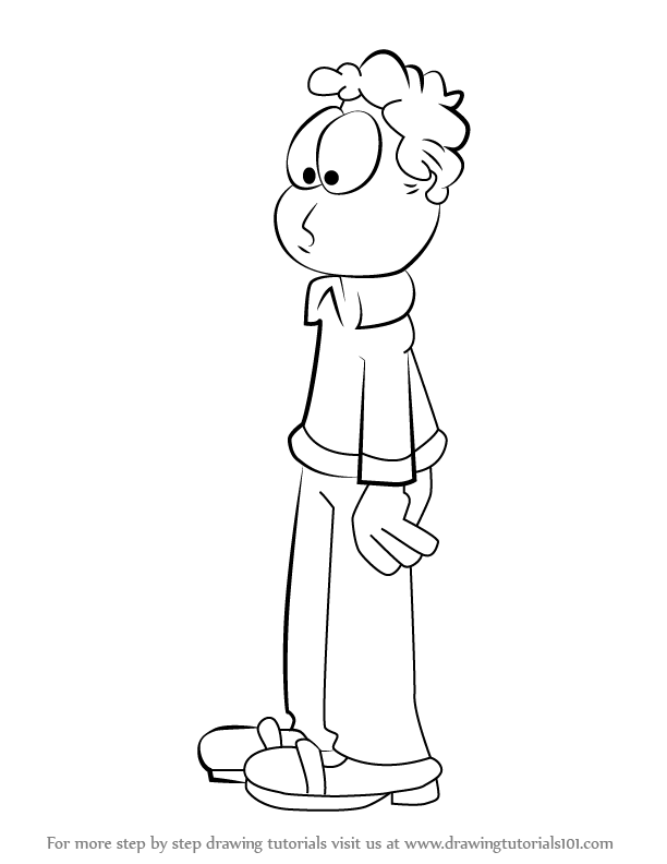 Step by Step How to Draw Jon Arbuckle from Garfield
