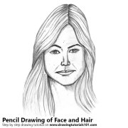 female face with hair pencil drawing