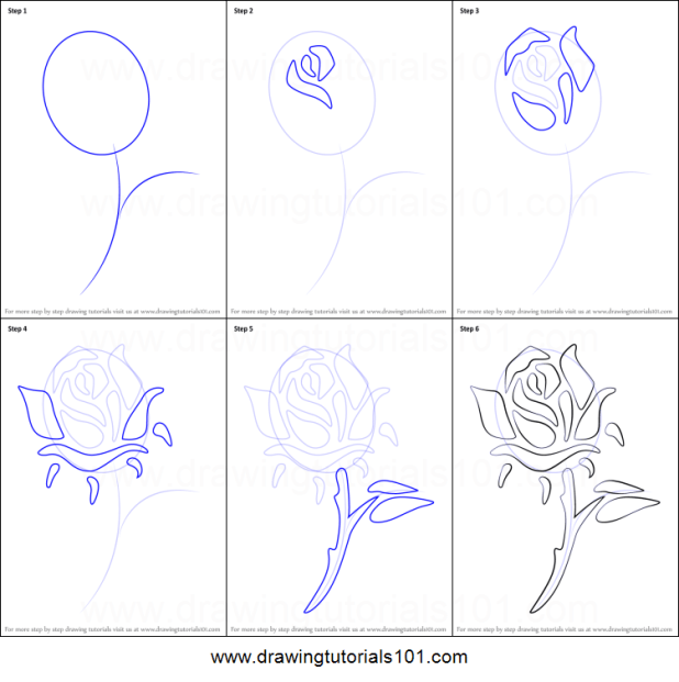 how to draw a rose tattoo step by step