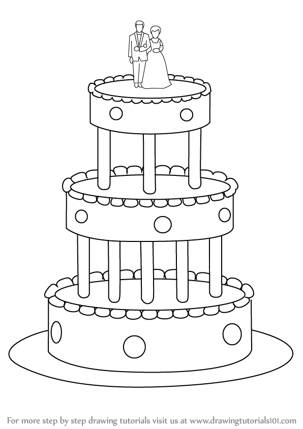 Step by Step How to Draw a Wedding Cake