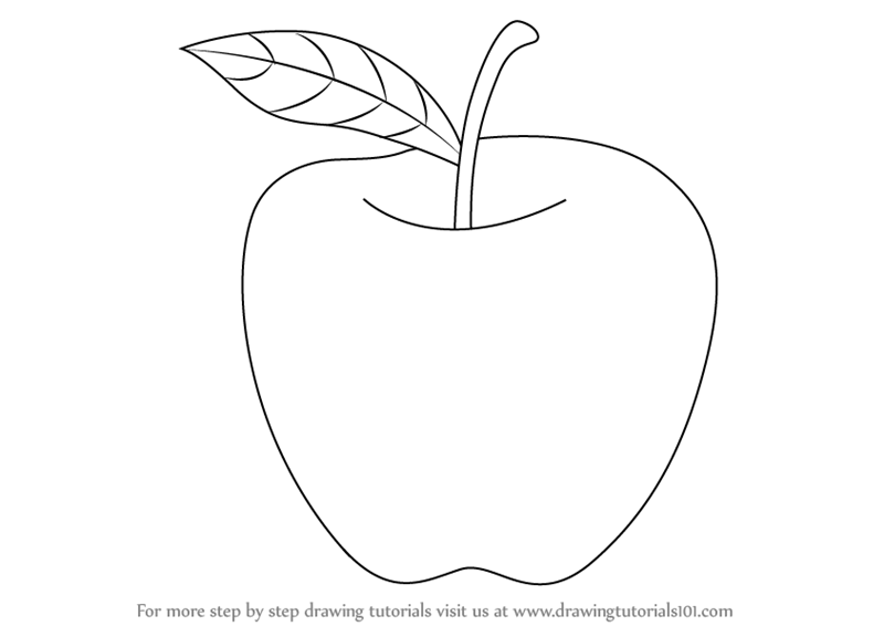 Learn How to Draw an Apple for Kids (Fruits) Step by Step