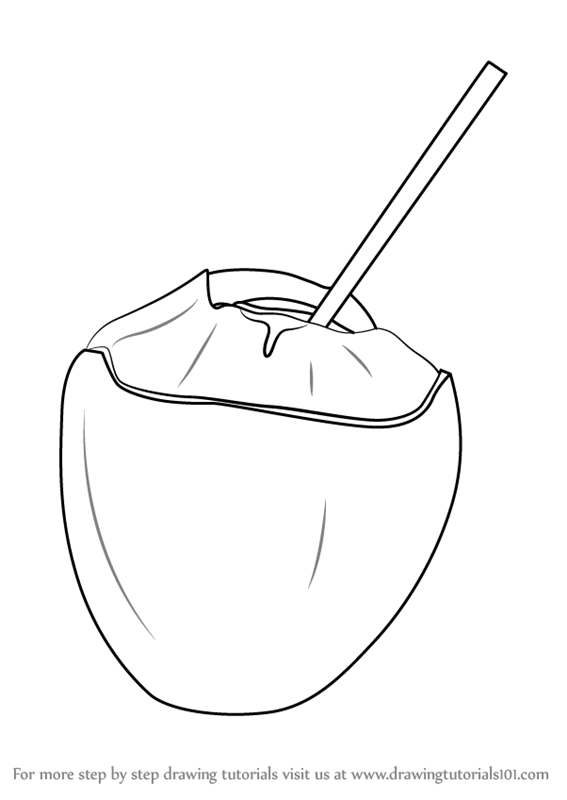 Learn How to Draw a Coconut with Straw (Fruits) Step by
