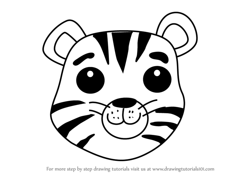 Learn How to Draw a Tiger Cub Face for Kids (Animal Faces