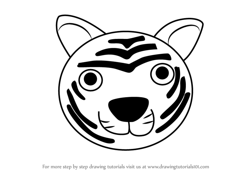 Learn How to Draw a Tiger Face for Kids (Animal Faces for