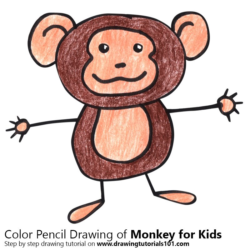 Monkey For Kids Colored Pencils Drawing Monkey For Kids With Color Pencils Drawingtutorials101 Com