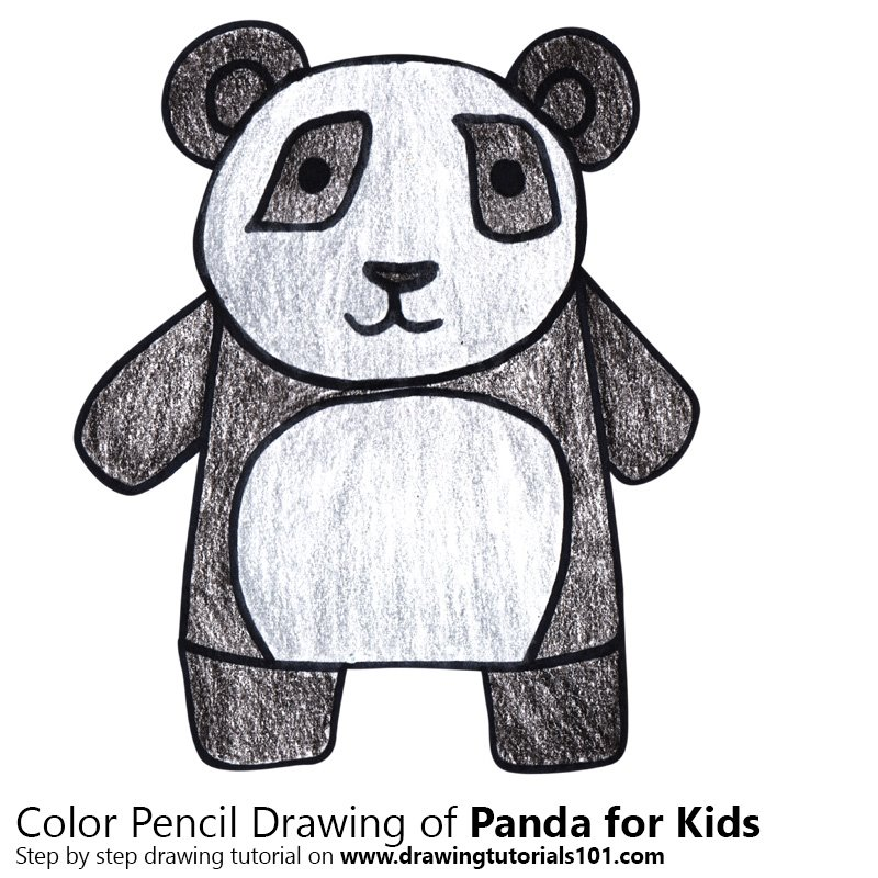 Panda For Kids Colored Pencils Drawing Panda For Kids With Color Pencils Drawingtutorials101 Com