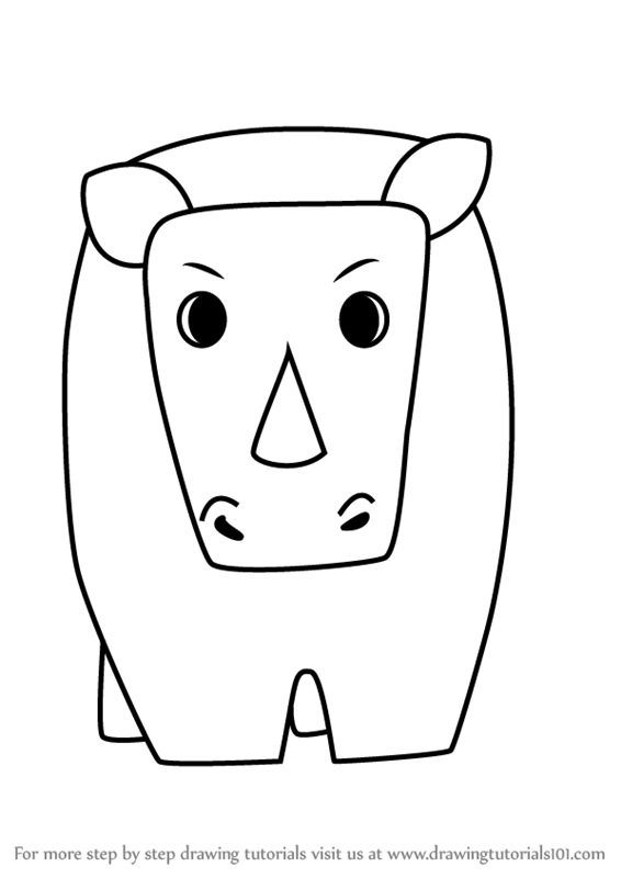 Learn How to Draw a Rhinoceros for Kids Very Easy (Animals