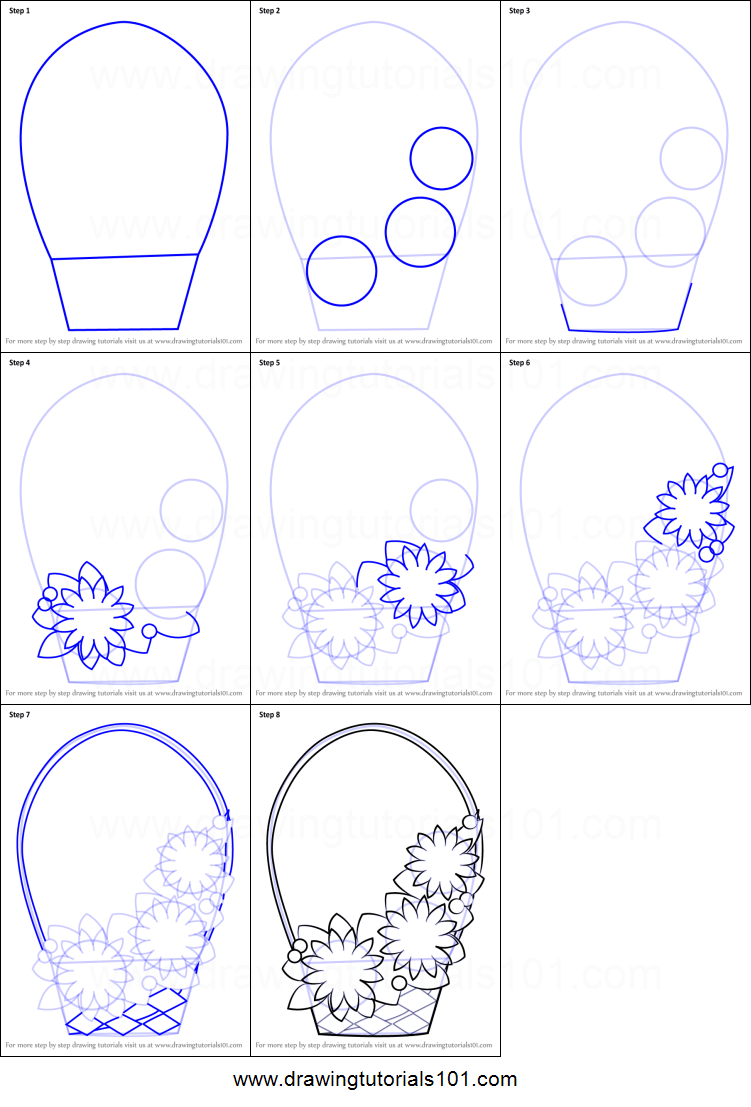 It is named after kiwi, the national bird of new zealand. How to Draw Flowers Basket for Kids printable step by step ...