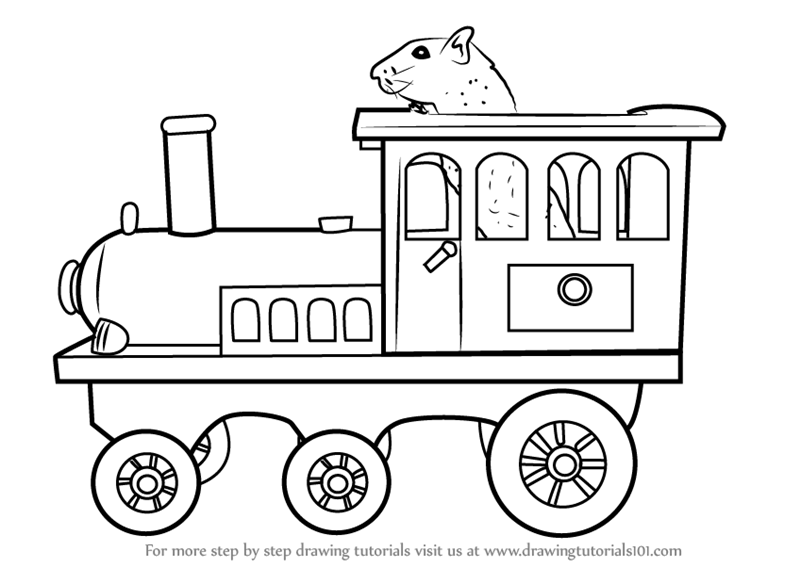 Learn How to Draw Toy Train Engine (Objects) Step by Step
