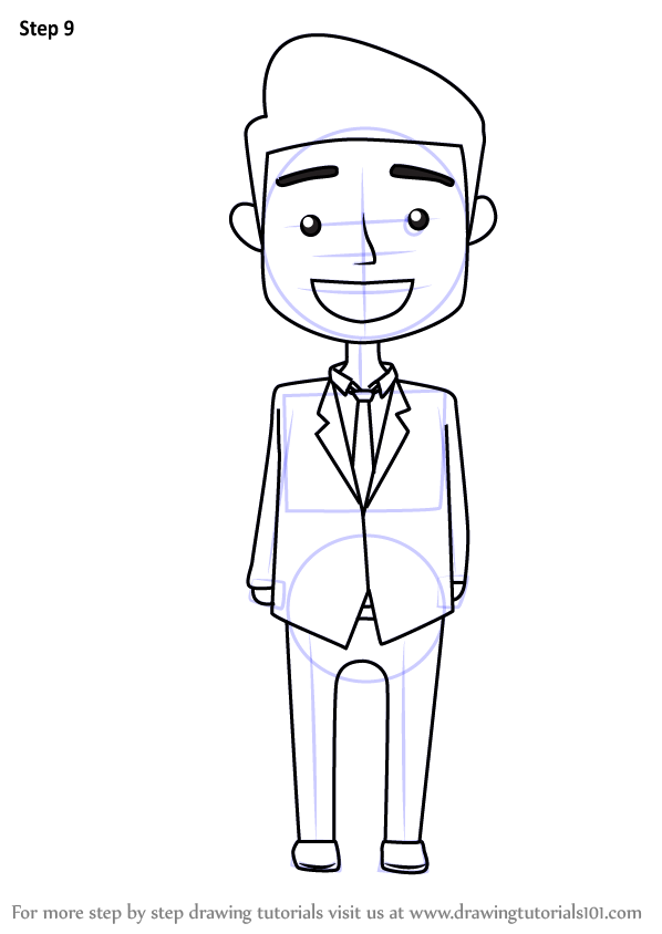Step by Step How to Draw a Business Man for Kids