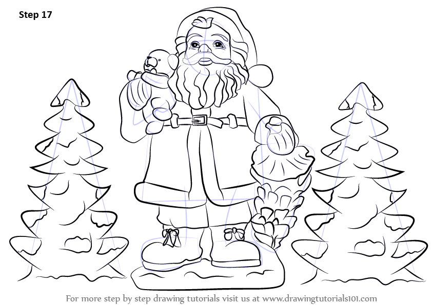 Learn How To Draw Santa Claus With Gifts Christmas Step