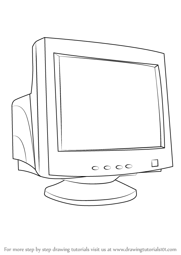 Learn How to Draw a Computer Monitor (Computers) Step by