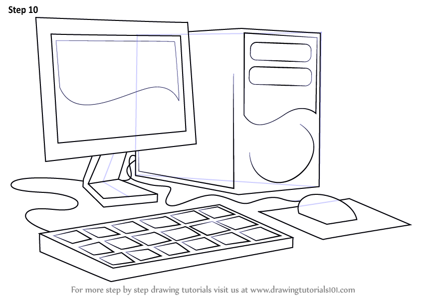 Learn How to Draw a Computer (Computers) Step by Step