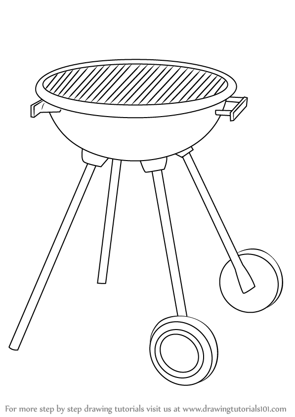 Learn How to Draw a BBQ Grill (Everyday Objects) Step by