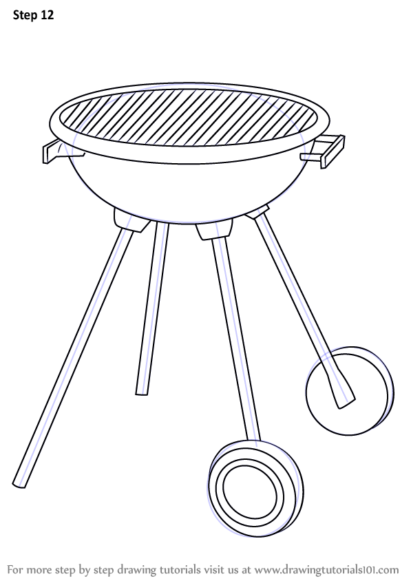 Step by Step How to Draw a BBQ Grill : DrawingTutorials101.com