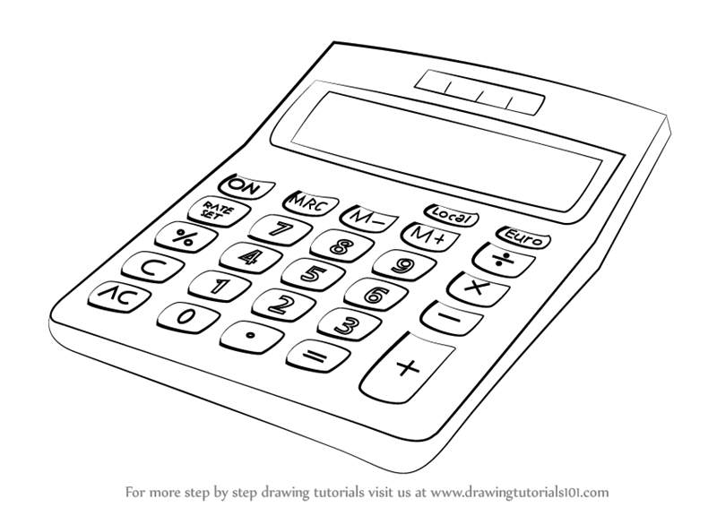 Learn How to Draw a Calculator (Everyday Objects) Step by