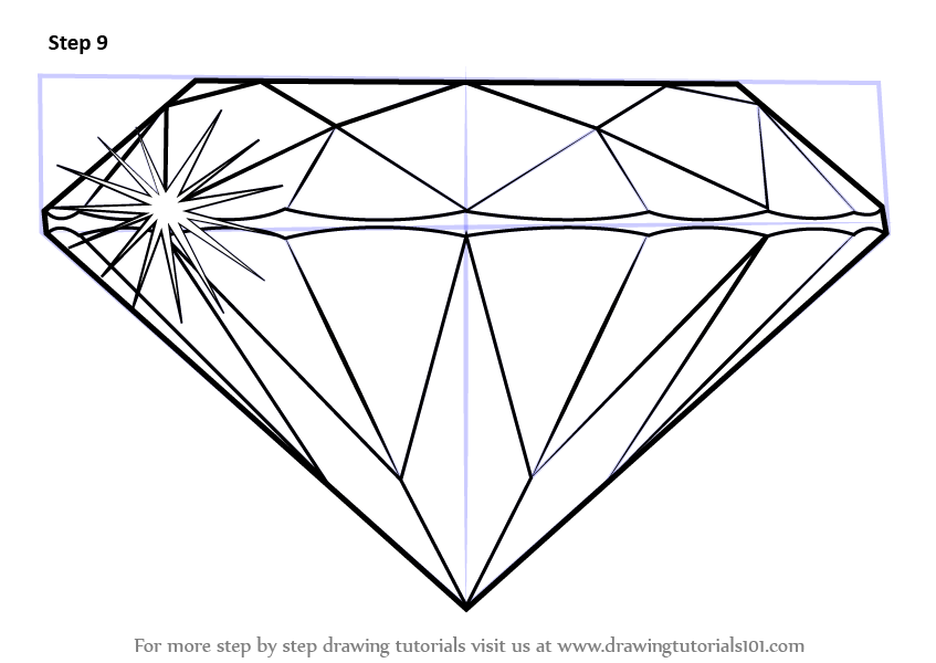 Learn How to Draw a Diamond (Everyday Objects) Step by