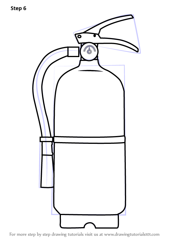 Step by Step How to Draw Fire Extinguisher