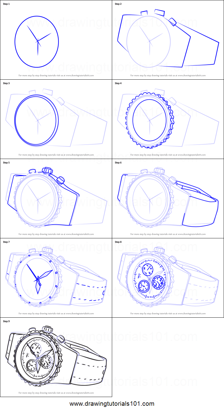 How to Draw a Luxurious Watch printable step by step ...