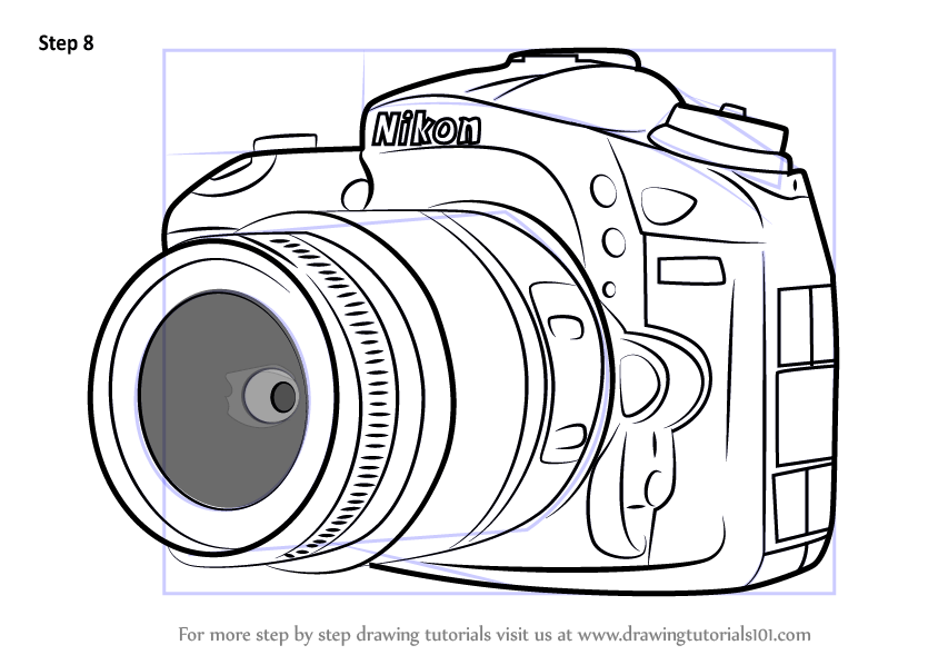 Learn How to Draw Nikon DSLR Camera (Everyday Objects