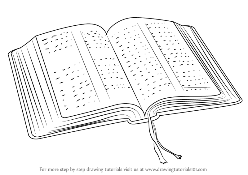 Learn How to Draw an Open Book (Everyday Objects) Step by