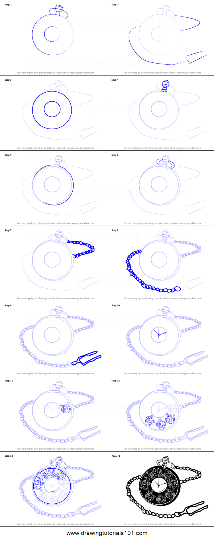 How to Draw a Pocket Watch printable step by step drawing ...