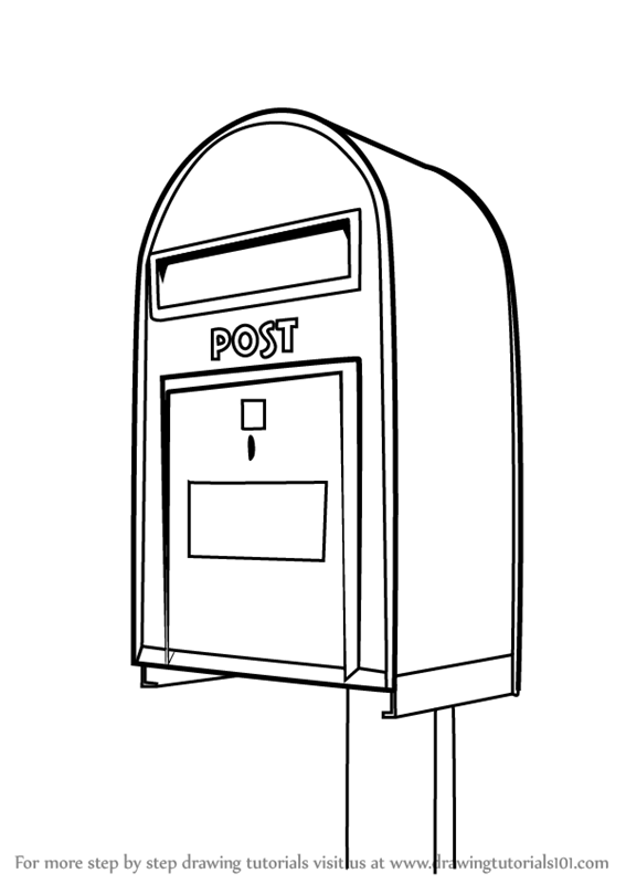 Learn How to Draw Post Box (Everyday Objects) Step by Step