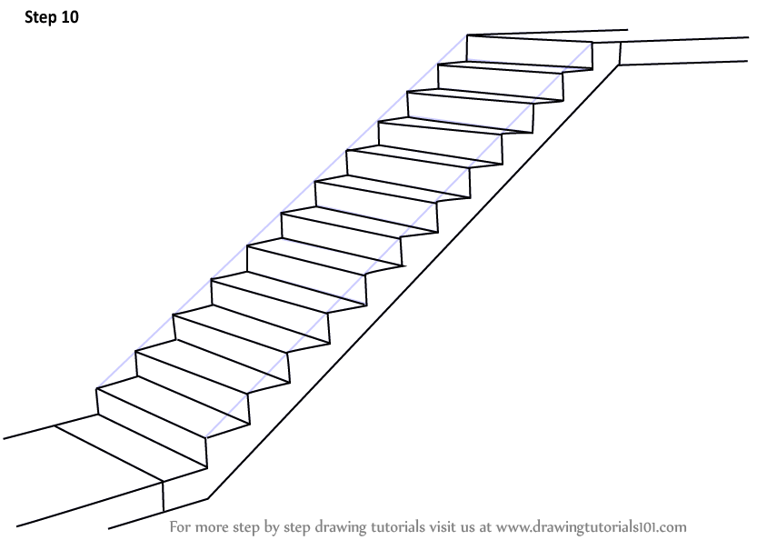 Step by Step How to Draw Staircase : DrawingTutorials101.com