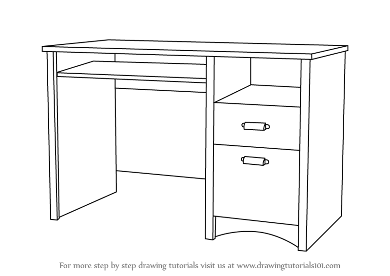 Learn How to Draw a Computer Desk (Furniture) Step by Step