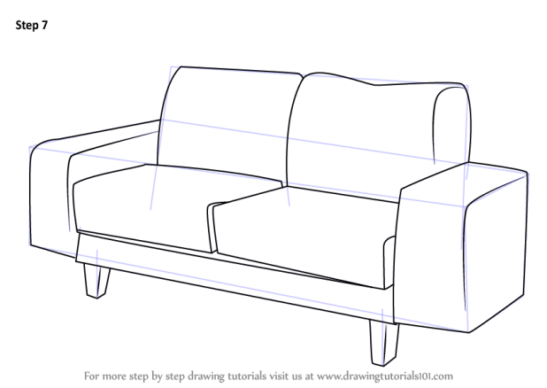 Learn How To Draw A Couch Furniture Step By Drawing Tutorials