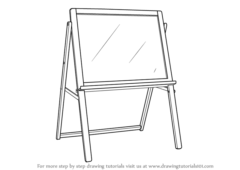 Learn How to Draw Drawing Board Standing (Furniture) Step