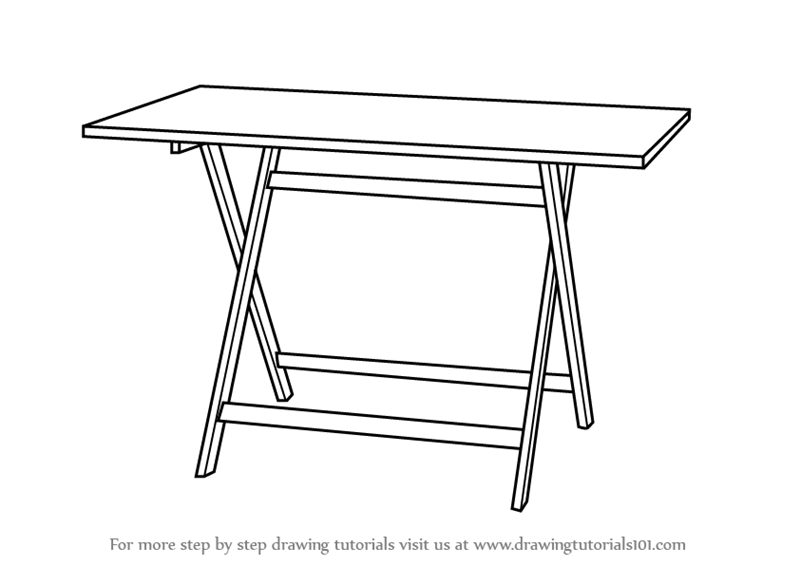 Learn How to Draw a Folding Table (Furniture) Step by Step