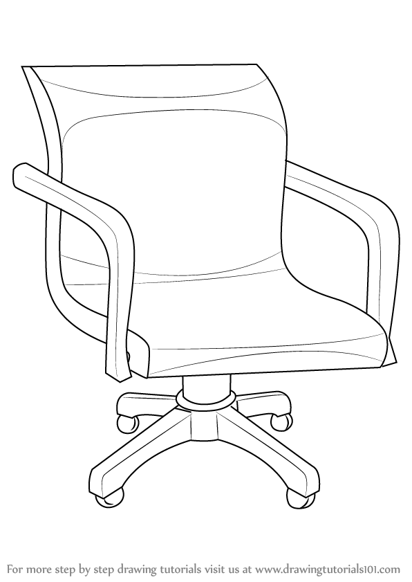 Learn How to Draw an Office Chair (Furniture) Step by Step