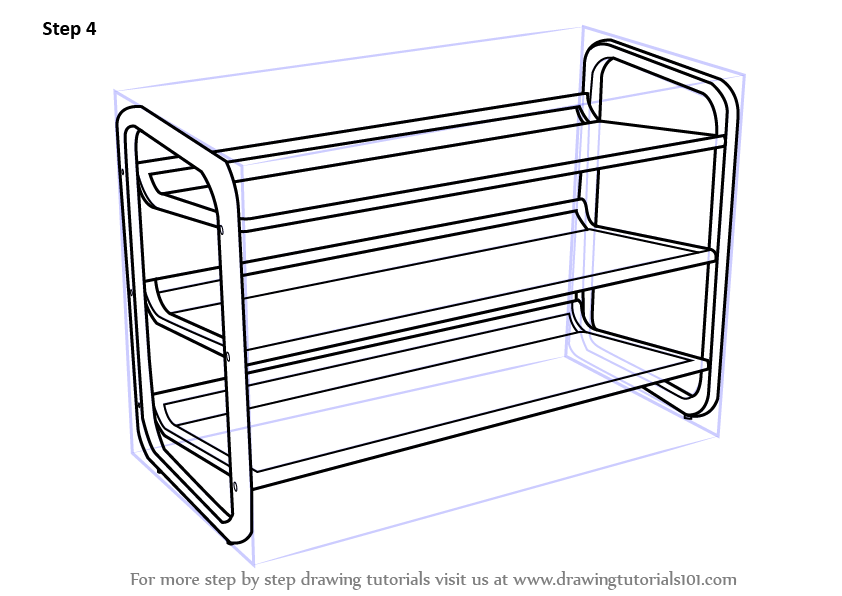 Learn How to Draw Shoe Rack (Furniture) Step by Step