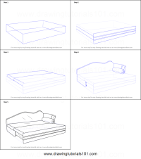 How to Draw Sofa cum Bed printable step by step drawing ...