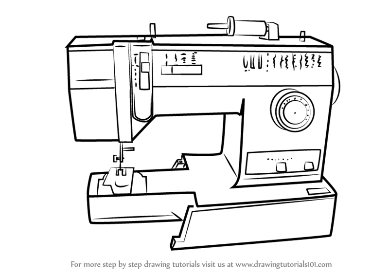 Learn How to Draw a Sewing Machine (Home Appliances) Step