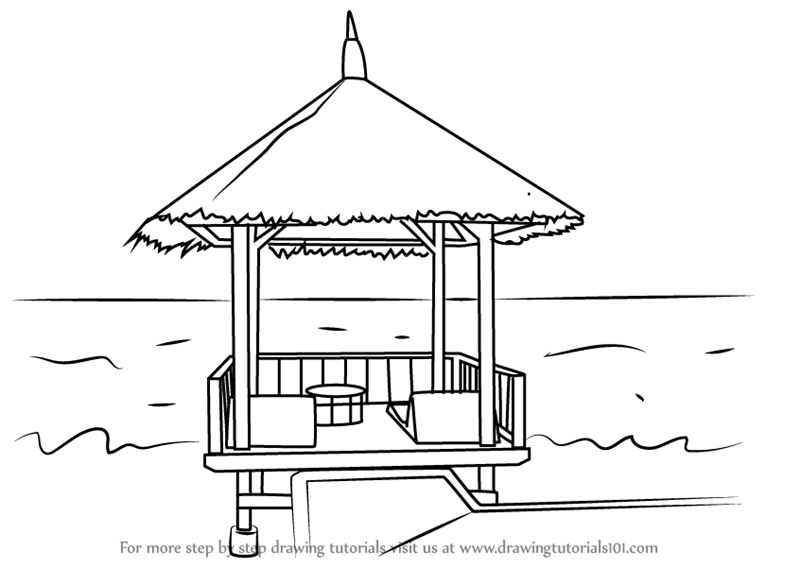 Learn How to Draw a Beach Hut (Houses) Step by Step
