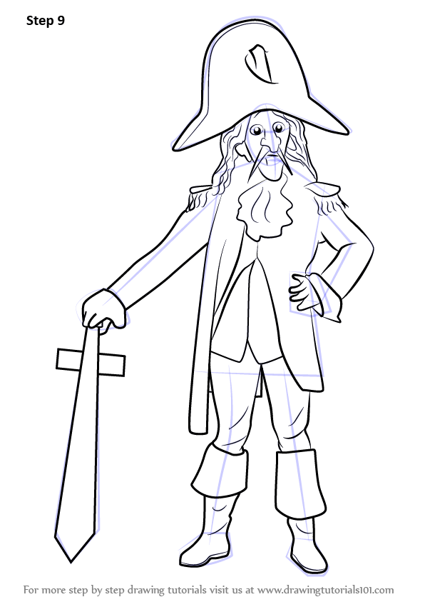 Learn How to Draw Captain Cook (Mascots) Step by Step
