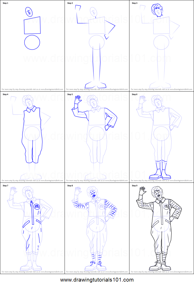 How to Draw Ronald McDonald printable step by step drawing