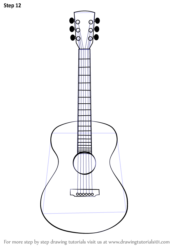 Learn How to Draw an Acoustic Guitar (Musical Instruments