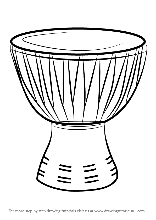 Learn How to Draw an African Drum (Musical Instruments