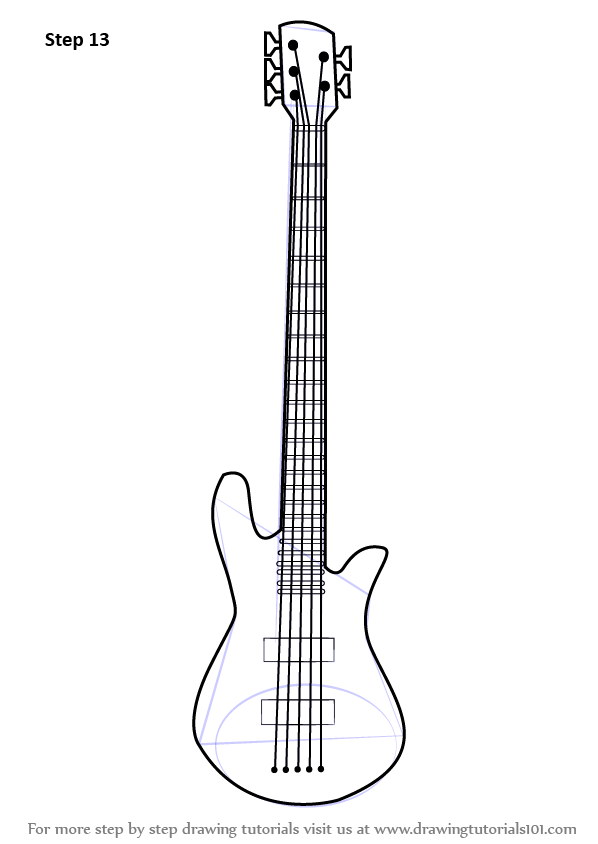Learn How to Draw a Bass Guitar (Musical Instruments) Step