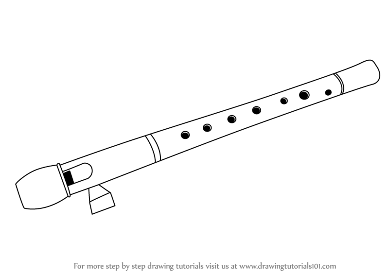 Learn How to Draw a Flute (Musical Instruments) Step by