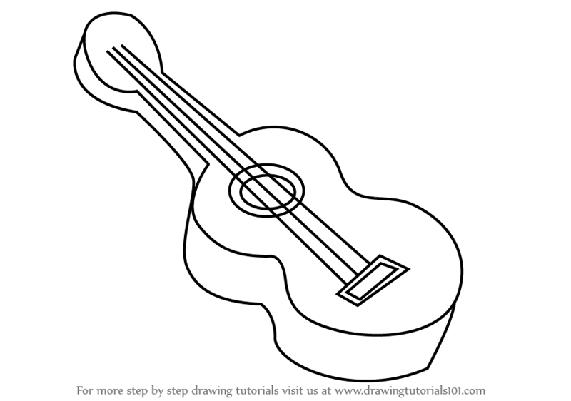 Step by Step How to Draw Guitar for Kids