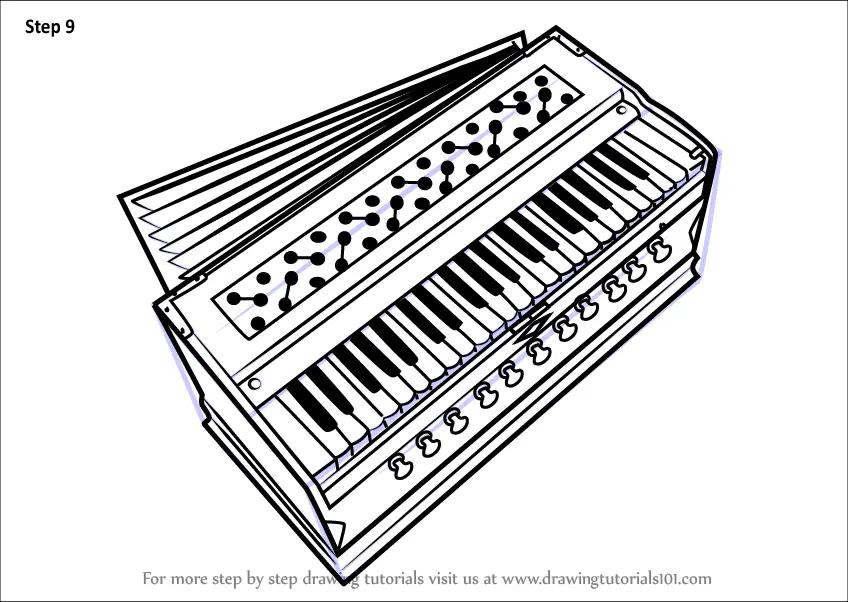 Step by Step How to Draw Harmonium : DrawingTutorials101.com