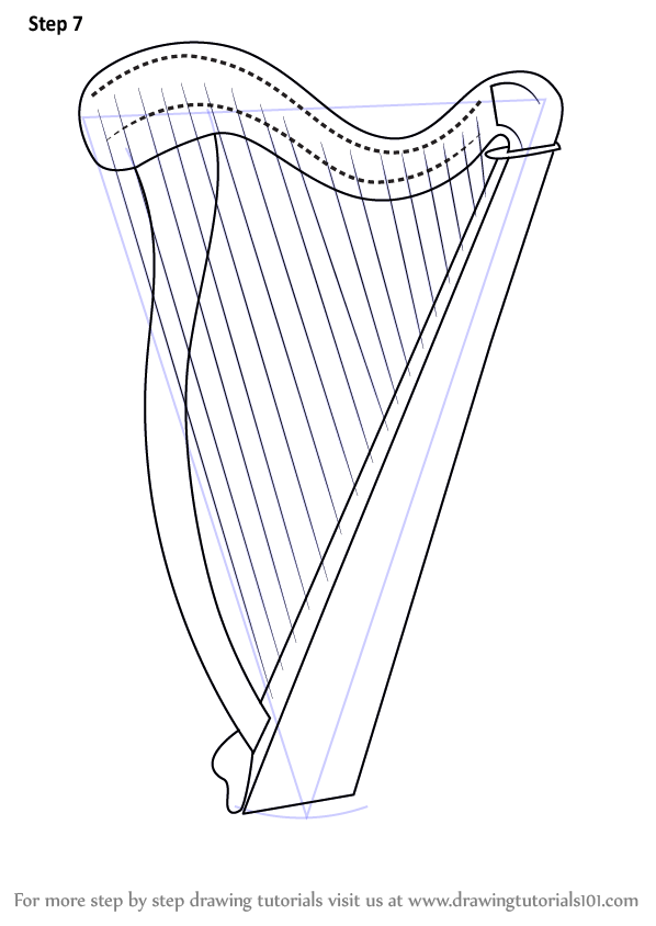 Learn How to Draw a Harp (Musical Instruments) Step by