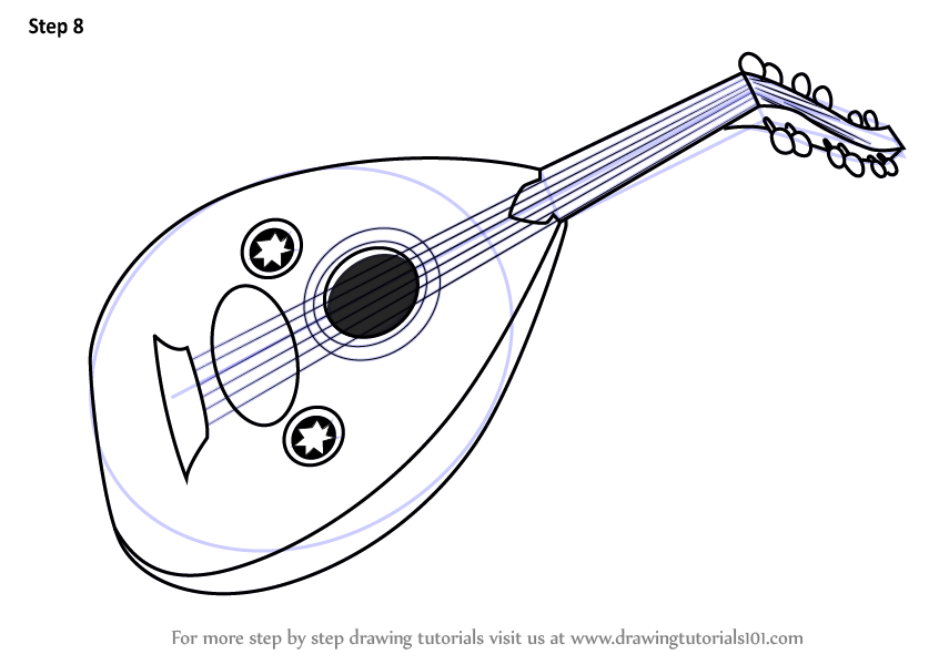 Learn How to Draw Mandolin (Musical Instruments) Step by