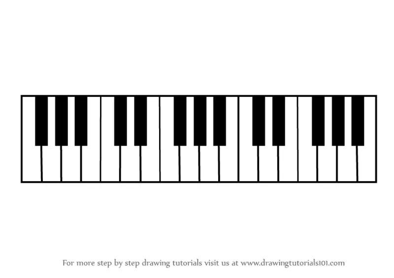 Step by Step How to Draw Piano Keys : DrawingTutorials101.com