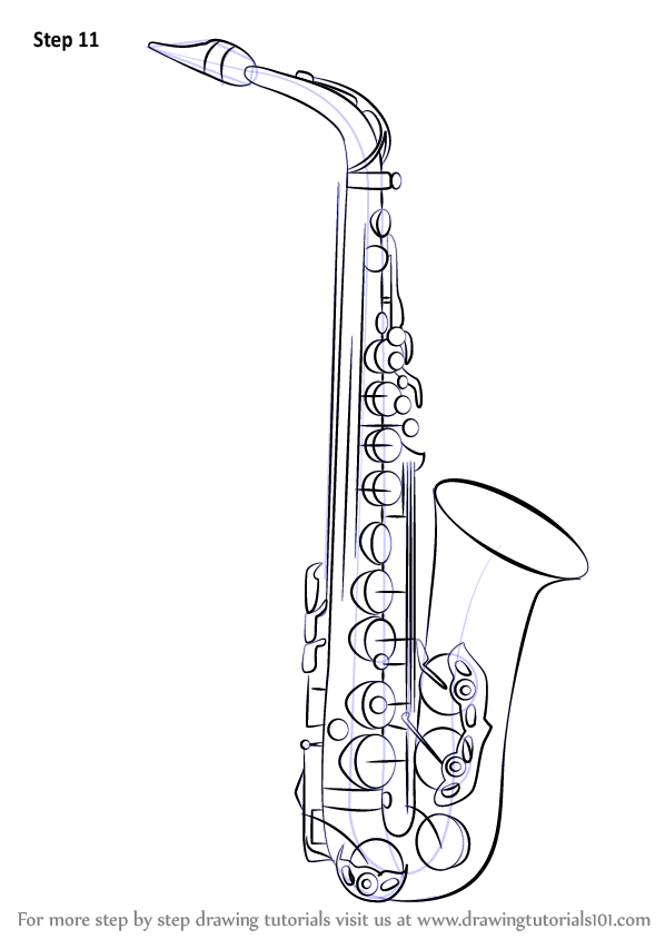 Learn How to Draw a Saxophone (Musical Instruments) Step
