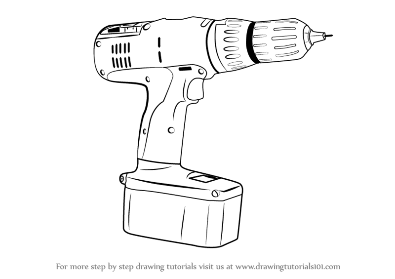 Learn How to Draw a Drill Machine (Tools) Step by Step
